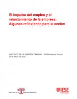 IEF-IESE. El impulso del empleo y el relanzamiento de la empresa